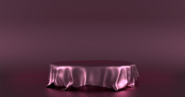 3d rendono il podio vuoto coperto di panno di seta rosa su sfondo rosa scuro