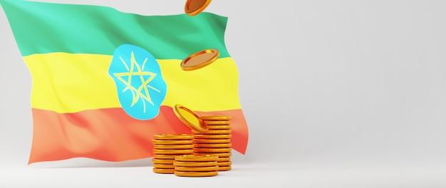 Rendering 3d della bandiera dell'etiopia e della moneta d'oro. business online ed e-commerce sul concetto di acquisto web. transazione di pagamento online sicura con smartphone.