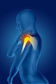 Rendering 3d di una figura medica femminile che tiene la spalla dolorante