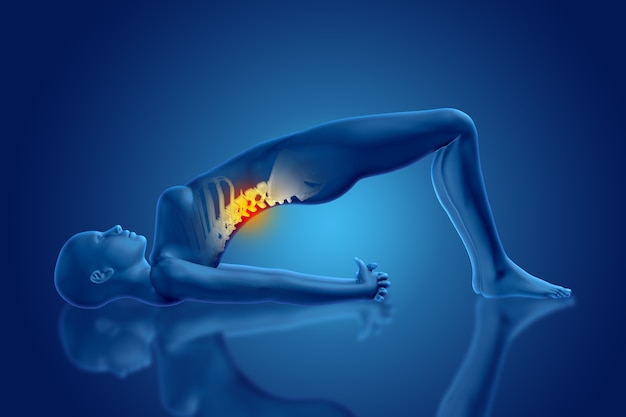Rendering 3d di una figura medica femminile in posa yoga