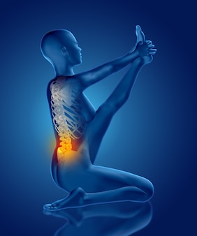 Rendering 3d di una figura medica femminile in posa yoga elasticizzata con colonna vertebrale evidenziata