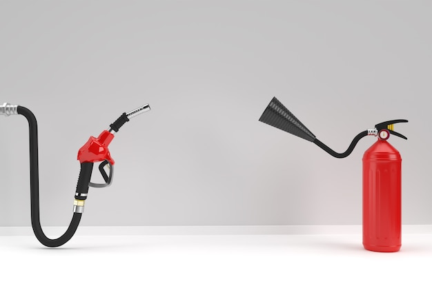 3d render estintore con ugello della pompa del carburante colore di sfondo pastello.