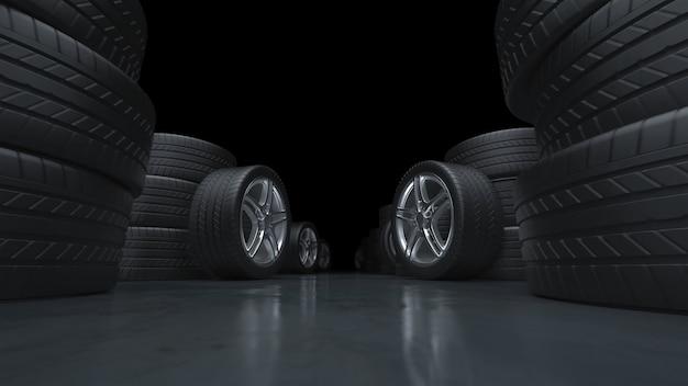 Rendering 3d volando lungo il corridoio di pneumatici per auto