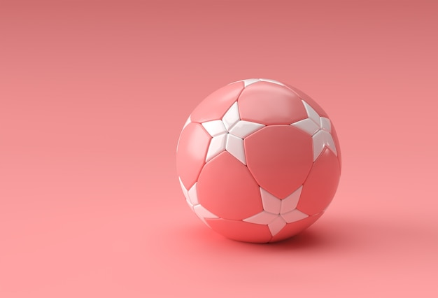 3d render illustrazione di calcio, pallone da calcio con sfondo rosa
