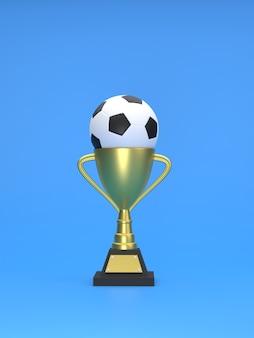 Rendering 3d calcio sul trofeo per il concetto per il concetto di successo e vittoria del vincitore