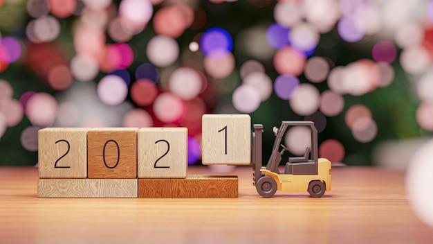 Rendering 3d. carrello elevatore solleva il blocco di legno anno 2021 sul muro di natale e capodanno.