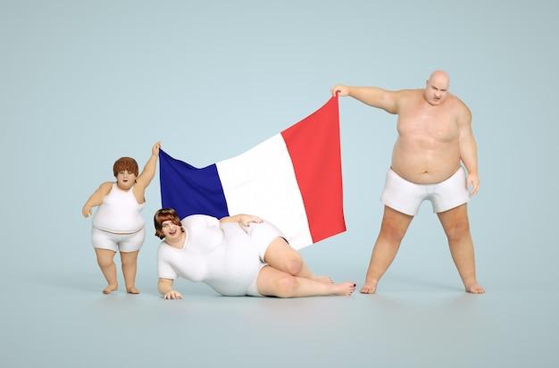 Rendering 3d concetto di obesità in francia - famiglia grassa con bandiera