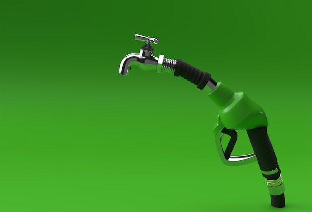 3d render ugello della pompa del carburante con rubinetto isolato su sfondo colorato.