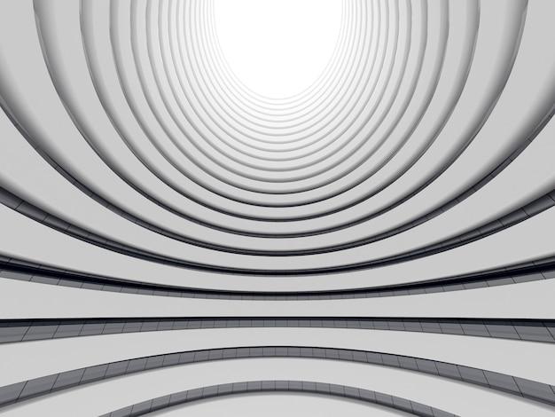 Rendering 3d di architettura futuristica, edificio grattacielo con finestra in vetro curva.