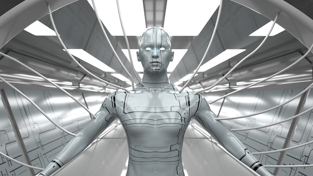 Rendering 3d. scena futuristica e figura umanoide