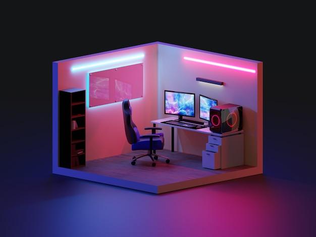 3d rendono la sala da gioco isometrica., illustrazione 3d.