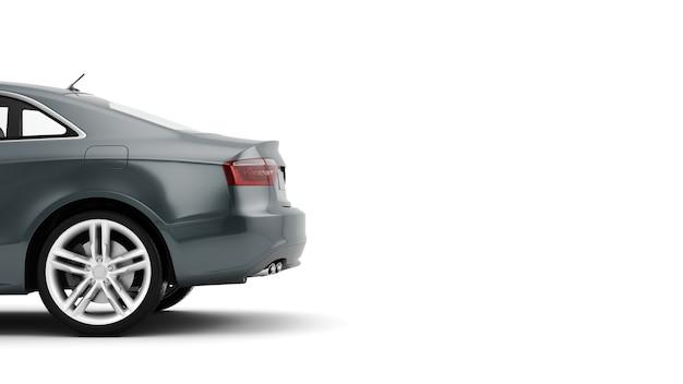 Rendering 3d di un'auto sportiva di lusso generica isolata su una superficie bianca