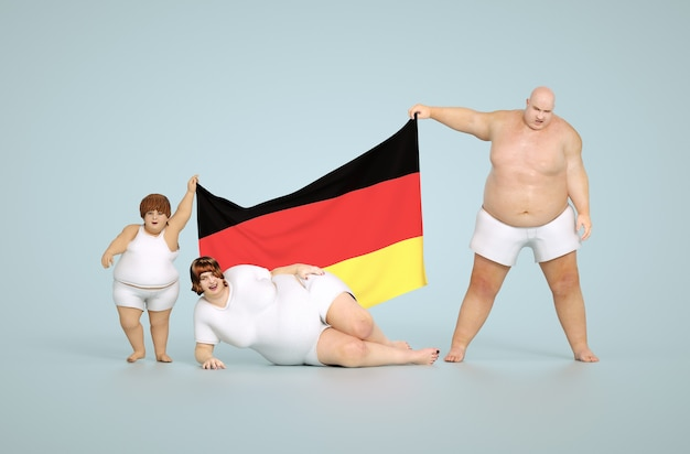 Rendering 3d concetto di obesità tedesca - famiglia grassa con bandiera