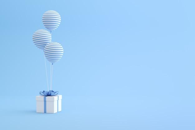 Rendering 3d di confezione regalo e palloncini su sfondo blu.