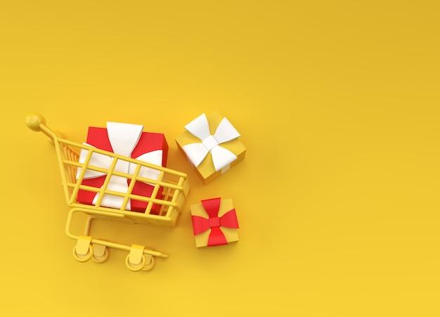 3d render confezione regalo nella progettazione dell'illustrazione del carrello della spesa.