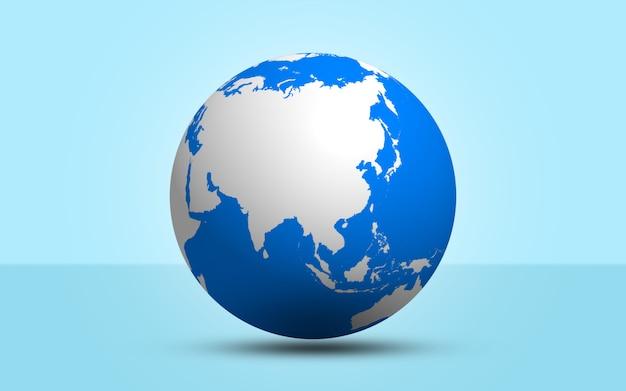 3d rendono la sfera del globo su fondo blu