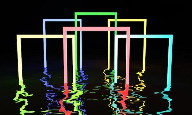 3d render linee incandescenti tunnel luci al neon realtà virtuale sfondo astratto