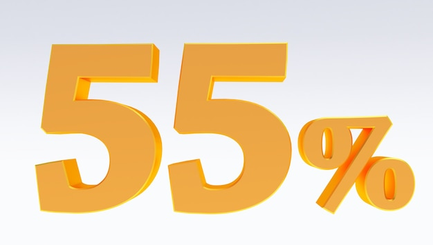 Rendering 3d di un oro 55 percento isolato su sfondo bianco, dorato cinquantacinque percento