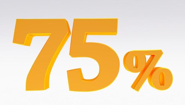 Rendering 3d di un 75 percento d'oro isolato su sfondo bianco, settantacinque percento dorato