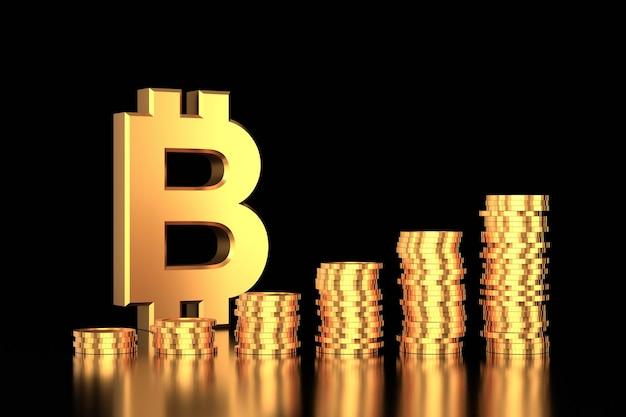 3d render segno bitcoin oro e pile di monete d'oro su sfondo nero