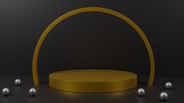 Rendering 3d oro su sfondo nero design del podio per la presentazione