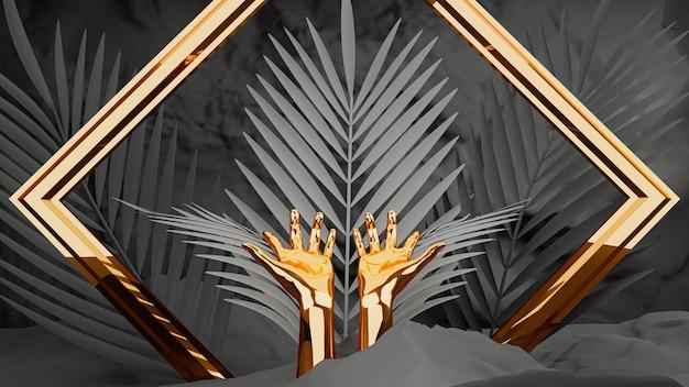 Rendering 3d, mani femminili d'oro con cornice e foglie di palma su sfondo nero.