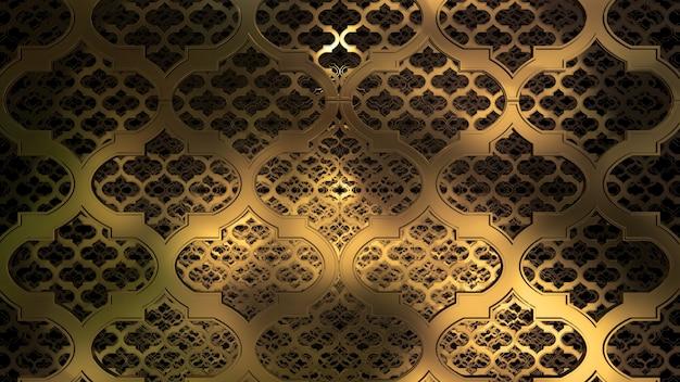 3d rendono lo sfondo di geometria olografica oro