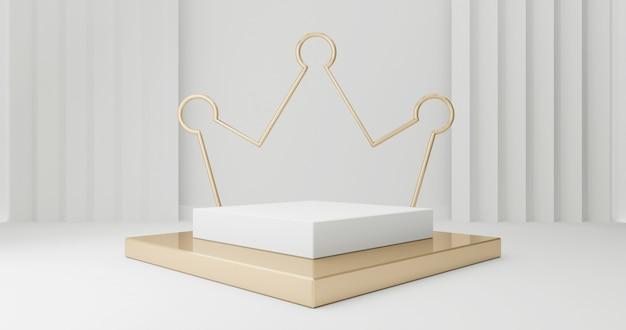 3d rendono dei punti del piedistallo dell'oro isolati su bianco
