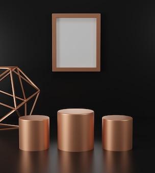 3d render podio d'oro e scene di cornice in background. sfondo astratto. mockup minimalista di lusso.