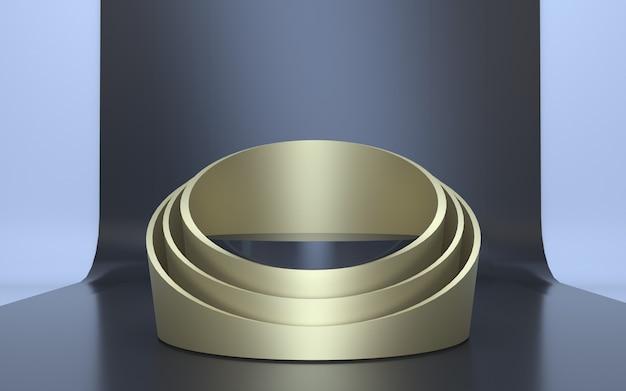 3d render gold podium stage per la visualizzazione del prodotto