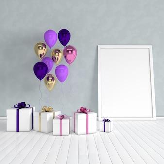 Rendering 3d confezione regalo palloncini oro e viola