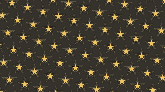 Render 3d con motivo a stelle dorate