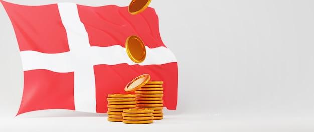 Rendering 3d di monete d'oro e bandiera della danimarca. acquisti online ed e-commerce sul concetto di business web. transazione di pagamento online sicura con smartphone.