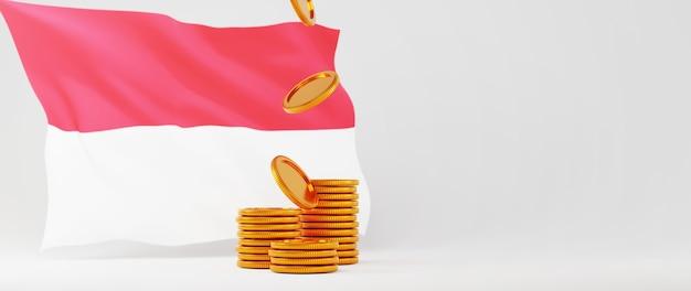 Rendering 3d di monete d'oro e bandiera dell'indonesia. business online ed e-commerce sul concetto di acquisto web. transazione di pagamento online sicura con smartphone.
