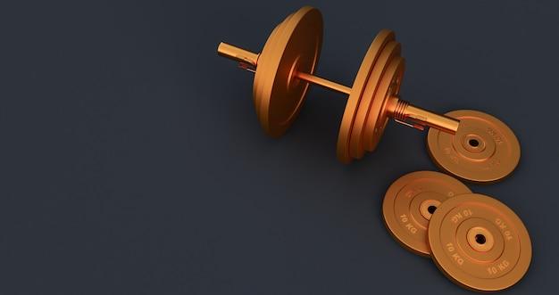 Rendering 3d del bilanciere di ferro dorato, manubrio isolato su sfondo nero. alta risoluzione, attrezzatura da palestra,