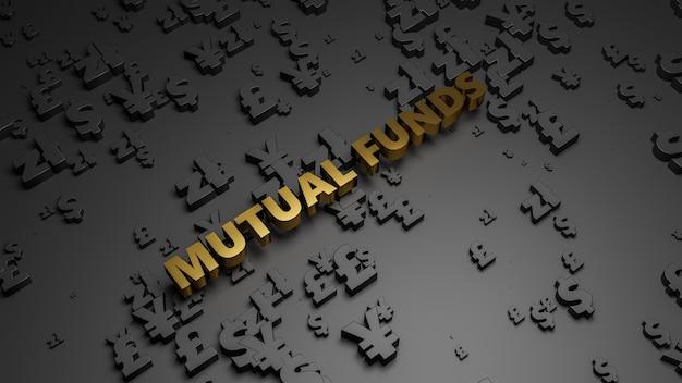 Rendering 3d del testo del fondo comune di investimento metallico dorato su fondo scuro di valuta.