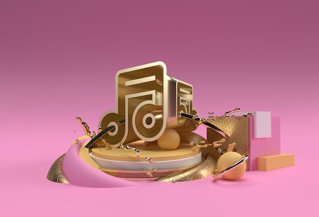 3d render pubblicità sui prodotti di visualizzazione della nota musicale dorata. progettazione dell'illustrazione del manifesto del volantino.