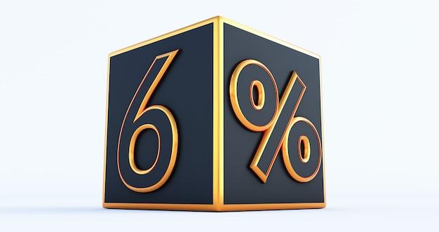 Rendering 3d di una scatola nera del 6 percento di sesso dorato, scatole di sconto 3d,