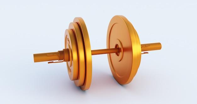 Rendering 3d del bilanciere di ferro elegante dorato, manubrio d'oro isolato su sfondo bianco. alta risoluzione