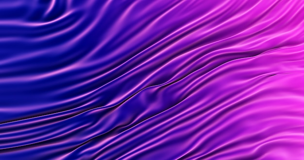 Rendering 3d di sfondo sfumato tessuto di seta blu e viola., sfondo texture