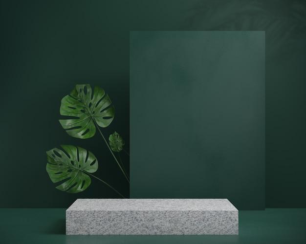 Rendering 3d podio in granito con palma foglia ombra e sfondo verde, sfondo astratto, per spettacolo cosmetico, display o vetrina.