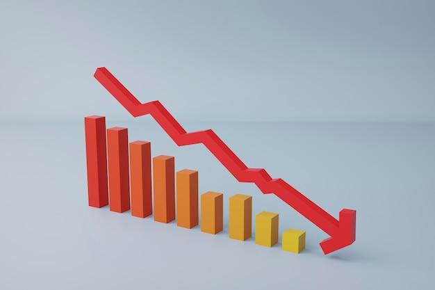 Rendering 3d grafico con freccia, concetto di fallimento