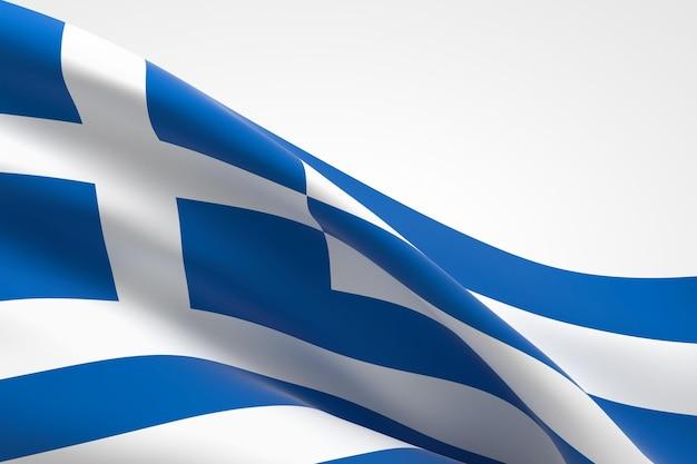 Rendering 3d dell'ondeggiamento della bandiera greca.