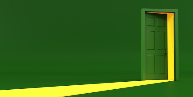 Rendering 3d dell'idea della porta aperta verde. porta aperta verde su sfondo verde.
