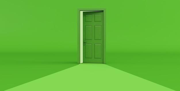 Rendering 3d della porta aperta verde isolata su priorità bassa verde.