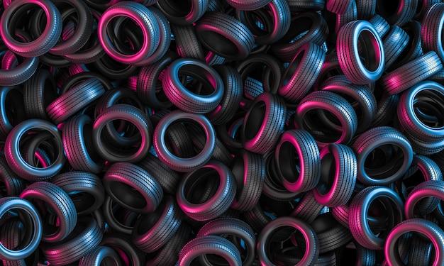 Rendering 3d di un gruppo di pneumatici per auto, luci viola e blu.
