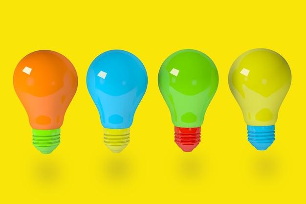 Rendering 3d gruppo di lampadine. avere un ottimo concetto di idea