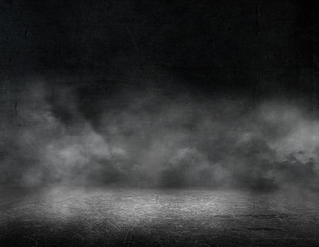 Rendering 3d di un interno di una stanza grunge con sfondo di atmosfera nebbiosa