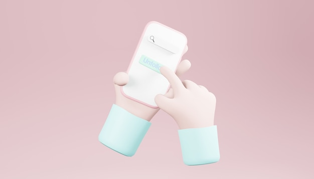 3d rendono le mani che tengono uno smartphone su sfondo rosa chiaro