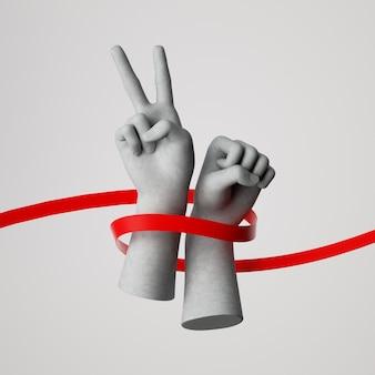 Rendering 3d delle mani avvolte con nastro rosso isolato. protesta pacifica, lotta per i diritti umani.
